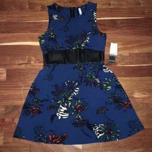 Kensie midnight blue print dress BNWT size M